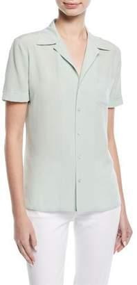 Ralph Lauren Martina Button-Front Short-Sleeve Silk Blouse