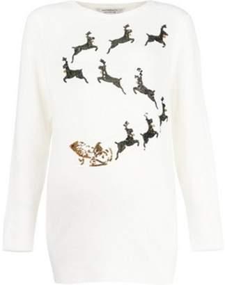 Dorothy Perkins Womens **Maternity Ivory Reindeer Sleigh Jumper