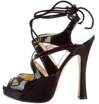 DSQUARED2 Patent Leather Lace-Up Sandals