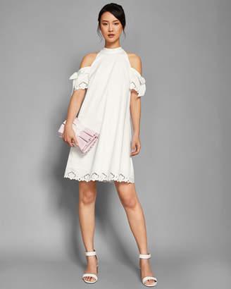 Ted Baker SEMARRA Embroidered cold shoulder dress