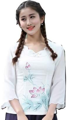 cfc5cdea9 story. Shanghai Women's Linen Tang Suit Chinese Cheongsam Top Lotus Print  Blouse