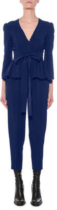 Stella McCartney Liliana V-Neck Button-Front Tie-Waist Peplum Slim Leg Jumpsuit