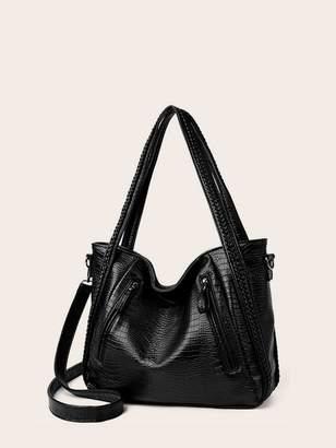 Shein Double Zip Decor Lizard Tote Bag