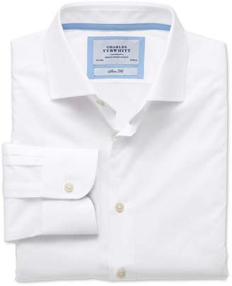 Charles Tyrwhitt Extra Slim Fit Semi-Spread Collar Business Casual White Egyptian Cotton Dress Shirt Single Cuff Size 15.5/33