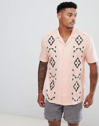 Asos Design DESIGN festival regular fit tie dye shirt with aztec embroidery and revere collar