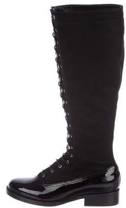 Chanel Lace-Up Knee-High Boots