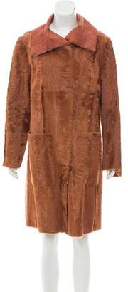 Akris Leather-Trimmed Fur Coat