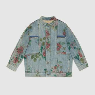 Gucci Children's denim jacket with floral print