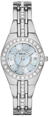 JCPenney RELIC Relic Womens Crystal-Accent Silver-Tone Bracelet Watch ZR12161