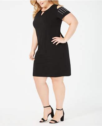 JM Collection Petite Plus Size Studded Cold-Shoulder Dress