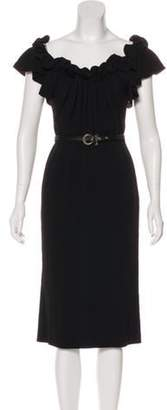 Christian Dior Ruffled-Trimmed Belted Dress Black Ruffled-Trimmed Belted Dress