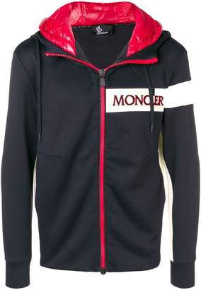 Moncler zipped logo hoodie