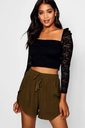 boohoo Rebecca Cheese Cloth Ruffle Hem Shorts