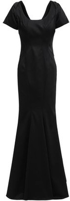 Zac Posen Fluted Ruffled Stretch-faille Gown