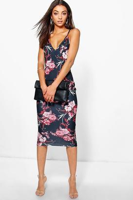 boohoo Tall Sacha Textured Dark Floral Print Midi Dress $32 thestylecure.com
