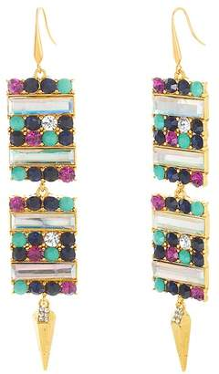 Steve Madden Multi-Colored Stone Square & Spike Drop Earrings