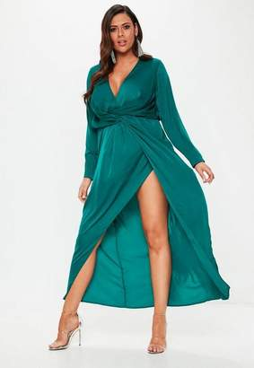 Missguided Plus Size Teal Wrap Knot Front Maxi Dress