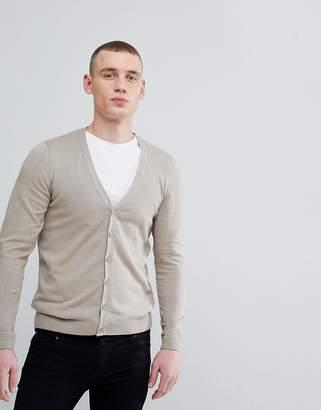 Asos DESIGN Cotton Cardigan In Oatmeal