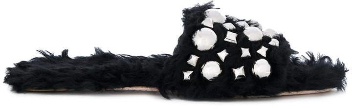 Miu Miu furry detail studded sandals