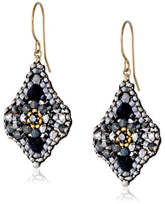 Miguel Ases Hematite and Swarovski Lotus Drop Earrings
