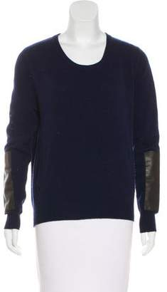 Allude Wool Leather-Accented Sweater