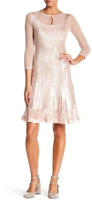 KOMAROV Keyhole 3/4 Length Sleeve Dress $298 thestylecure.com