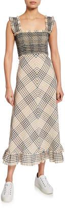 Ganni Seersucker Check Square-Neck Long Dress