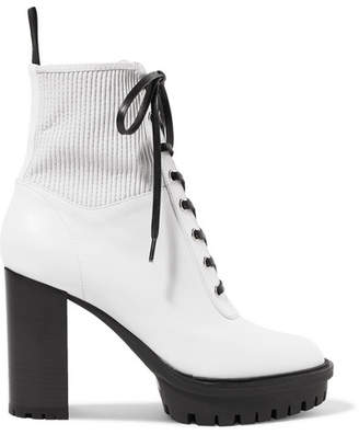 Gianvito Rossi 90 Lace-up Leather Ankle Boots - White