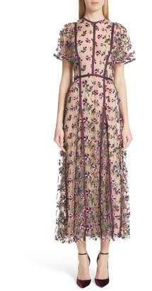 Lela Rose Embroidered Flutter Sleeve Midi Dress