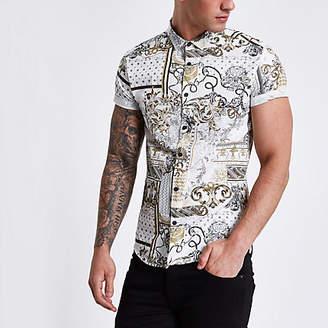 River Island Cream baroque short sleeve slim fit shirt