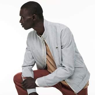 Lacoste Men's Short Striped Seersucker Zip Jacket