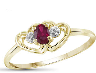 FINE JEWELRY Womens Diamond Accent and Lab-Created Red Ruby Gold Over Silver Delicate Ring