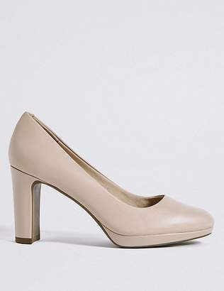 Marks and Spencer Wide Fit Leather Block Heel Court Shoes