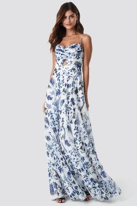 Trendyol Flower Pattern Maxi Dress Ecru