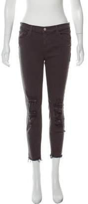 J Brand Distressed Mid-Rise Jeans