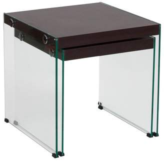 Ash Flash Furniture Wynwood Collection Dark Wood Grain Finish Nesting Tables with Glass Frame
