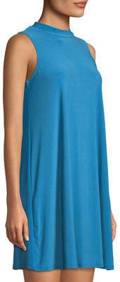 Neiman Marcus Sleeveless Mock-Neck Trapeze Dress