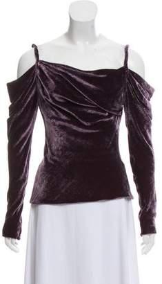 Ralph Lauren Velvet Cold-Shoulder Top