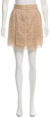 RED Valentino Lace Pleated Mini Skirt