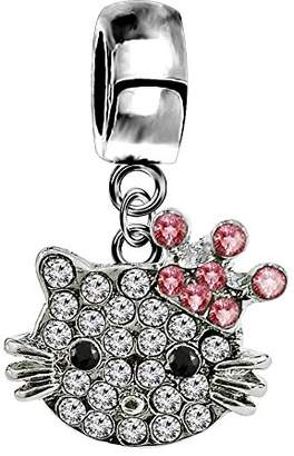 Hello Kitty Shalalla London Silver Hellokitty charm with CZ crystals - fits all type of charm bracelets & necklaces