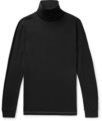 Theory Slim-Fit Cotton and Cashmere-Blend Rollneck T-Shirt - Black