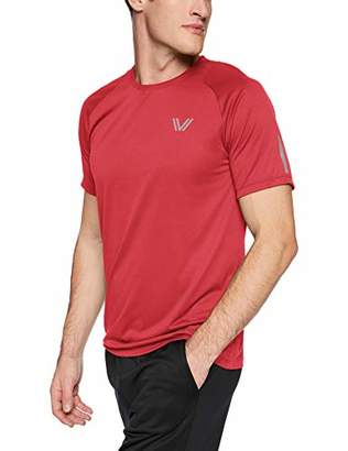 Peak Velocity Men's Channel-Knit Performance Short Sleeve Quick-dry Athletic-Fit Run T-Shirt