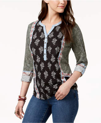 Style&Co. Style & Co Mixed-Print Tab-Sleeve Henley, Created for Macy's