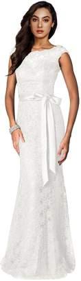 Irenephil Women's Elegant Floral Lace Sleeveless Halter Bridesmaid Maxi Dress
