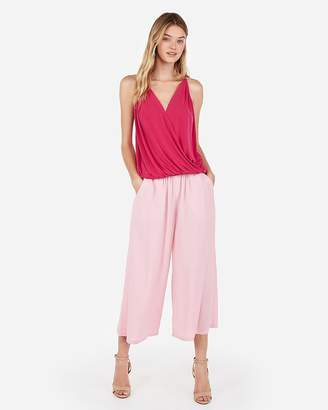 Express Solid Banded Bottom Surplice Cami