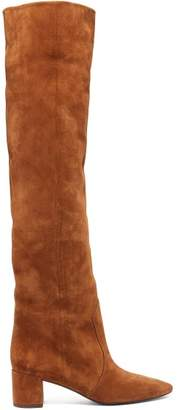 Saint Laurent Lou Suede Over The Knee Boots - Womens - Tan