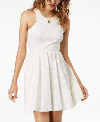 Sequin Hearts Juniors' Lace Fit & Flare Dress