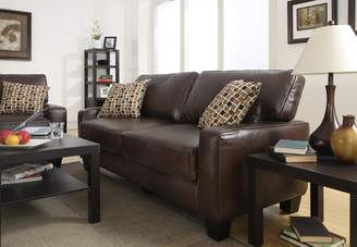Serta at Home Monaco Collection Deluxe Sofa, Eco-Friendly Biscuit Brown Bonded Leather, CR-43595 - CR43595P