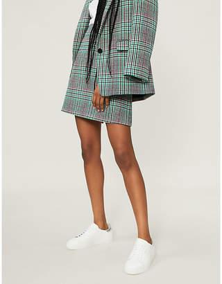Sandro Tartan check wool-blend mini skirt