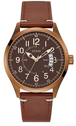 GUESS Men's Quartz Stainless Steel and Leather Casual WatchColor (Model: U1102G3)